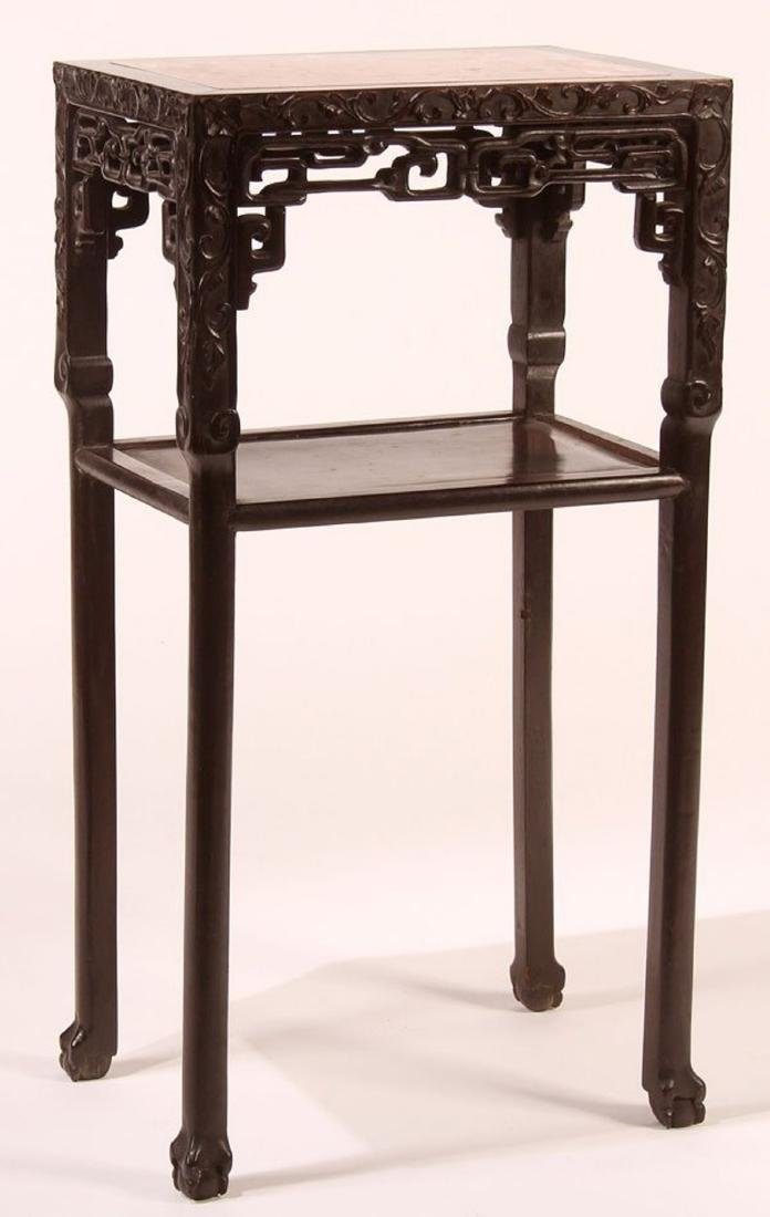 A CHINESE EXPORT CARVED HARDWOOD AND MARBLE STAND,