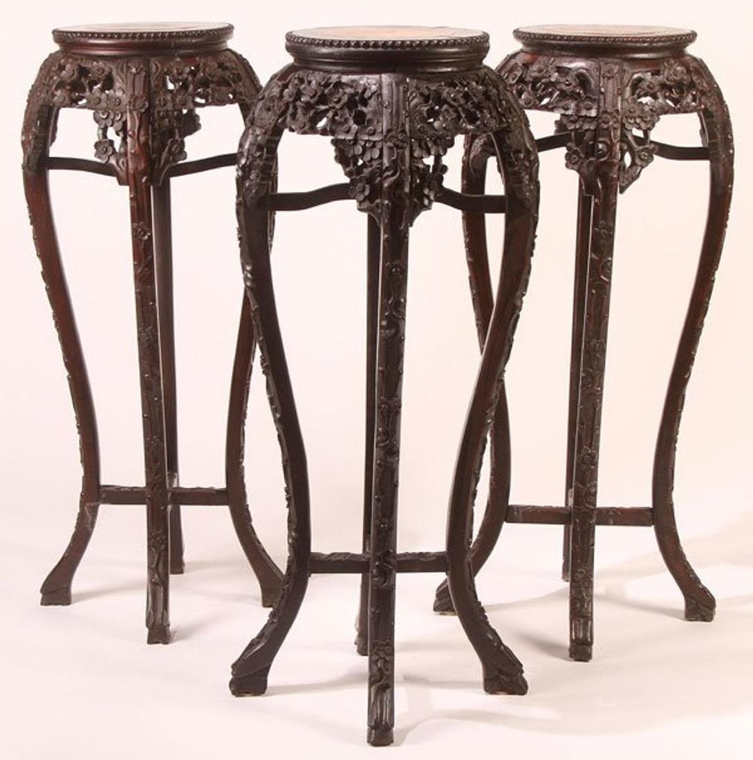 A GROUP OF THREE CHINESE EXPORT CARVED HARDWOOD AND