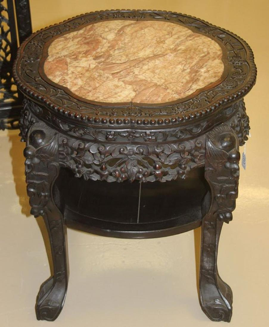 A CHINESE EXPORT CARVED HARDWOOD AND MARBLE STAND, - 2