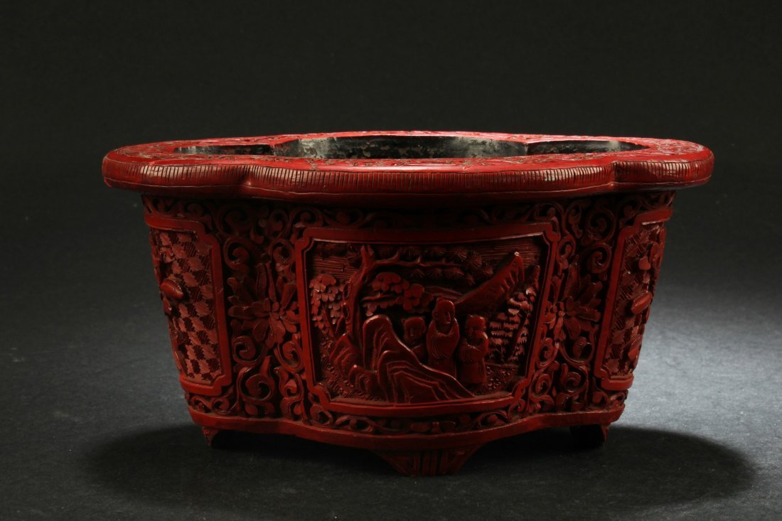 Antique Chinese Cinnabar Lacquer Container