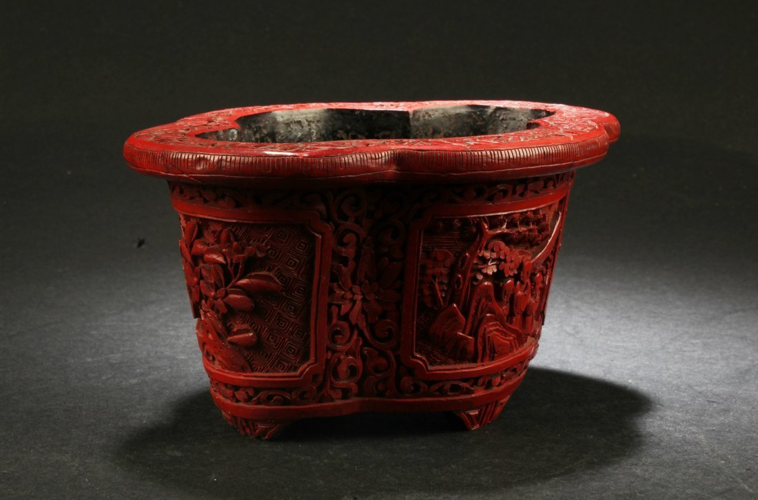 Antique Chinese Cinnabar Lacquer Container - 2