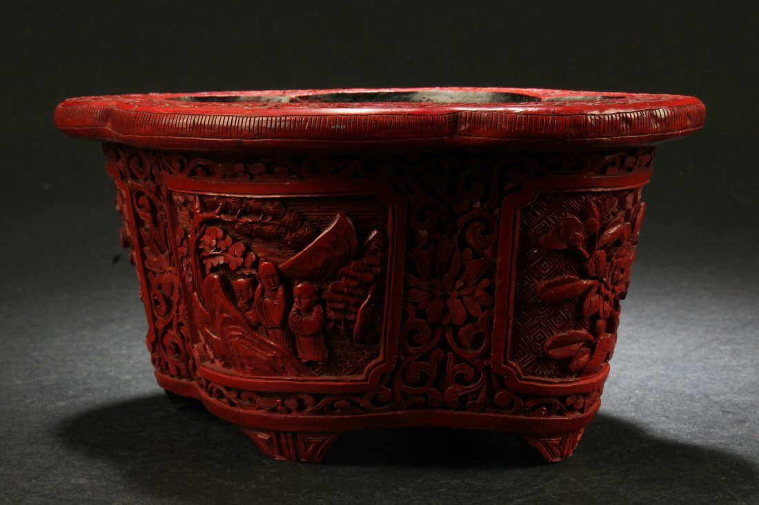 Antique Chinese Cinnabar Lacquer Container - 3