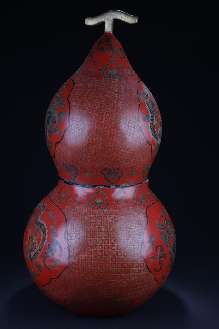 Large Chinese Cinnabar Lacquered Double Gourd - 7