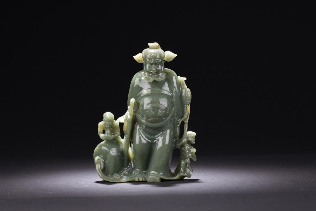 Chinese Spinach Green Carved Zhongkui Statue