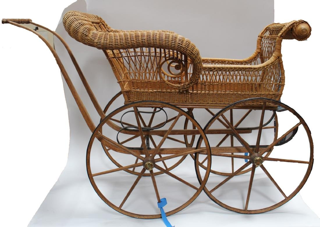 A Weaved Cane Baby Stroller