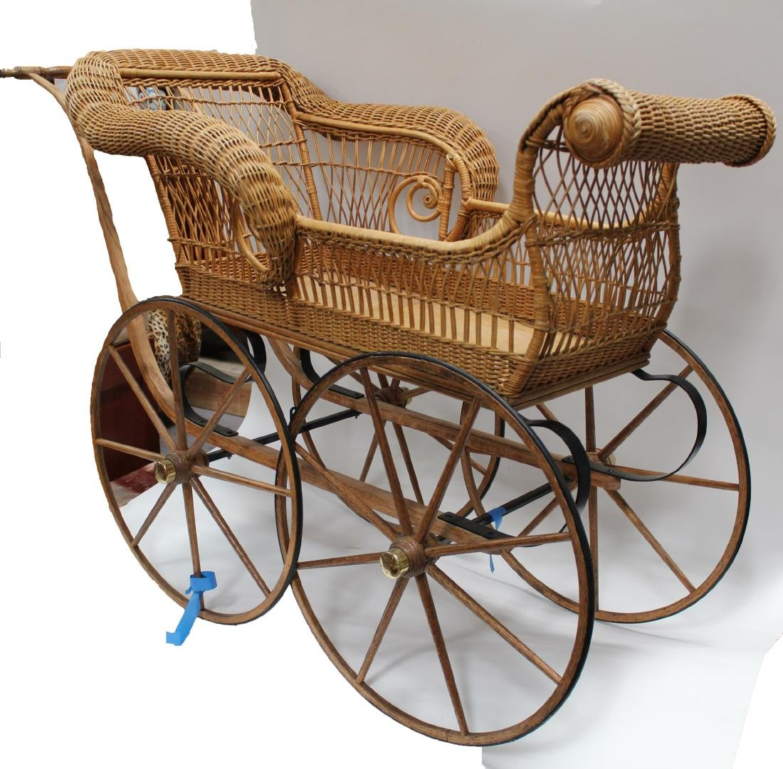 A Weaved Cane Baby Stroller - 2