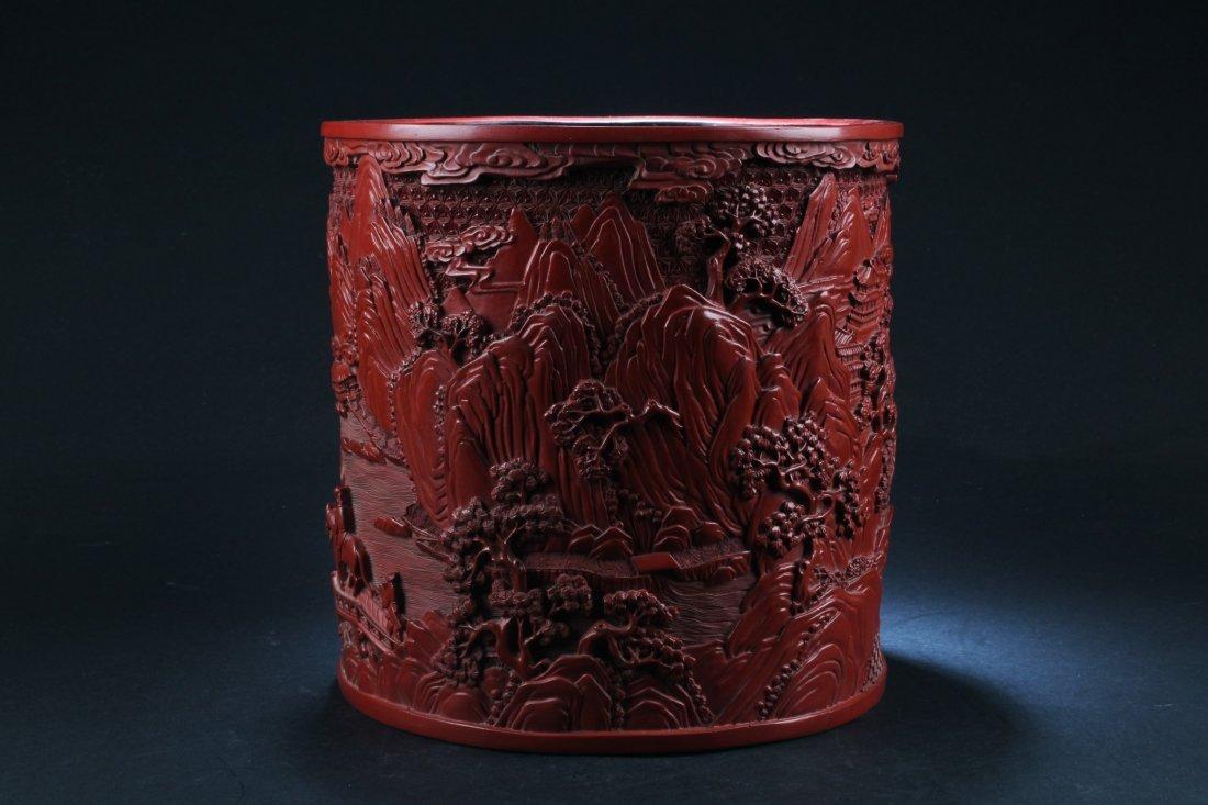 Chinese Cinnabar Lacquer Brushpot - 2