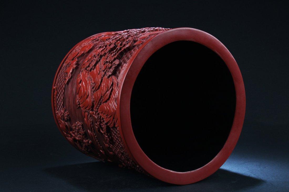 Chinese Cinnabar Lacquer Brushpot - 4