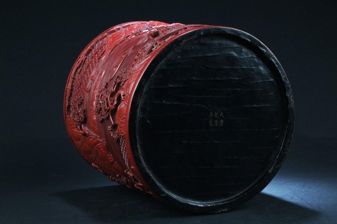 Chinese Cinnabar Lacquer Brushpot - 5