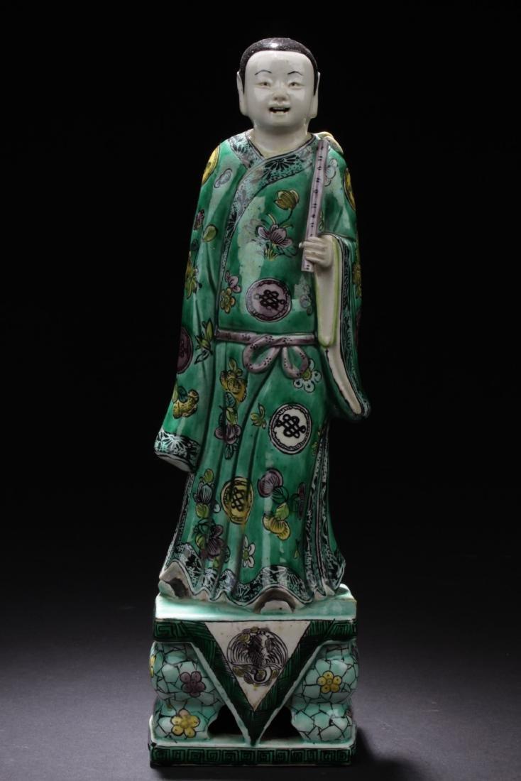 Chinese Antique Famille Verte Porcelain Scholar Figure