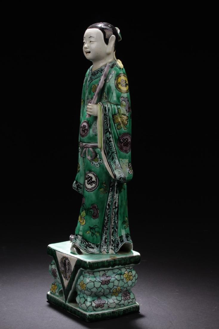 Chinese Antique Famille Verte Porcelain Scholar Figure - 2