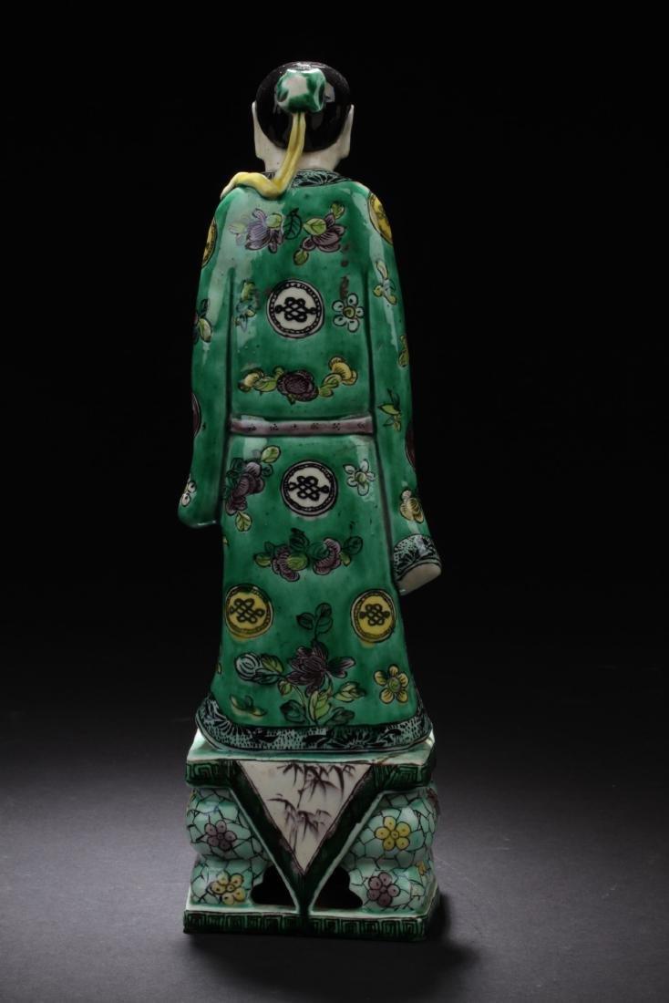 Chinese Antique Famille Verte Porcelain Scholar Figure - 3