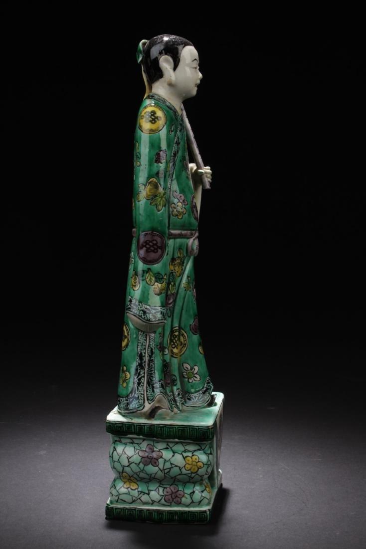 Chinese Antique Famille Verte Porcelain Scholar Figure - 4