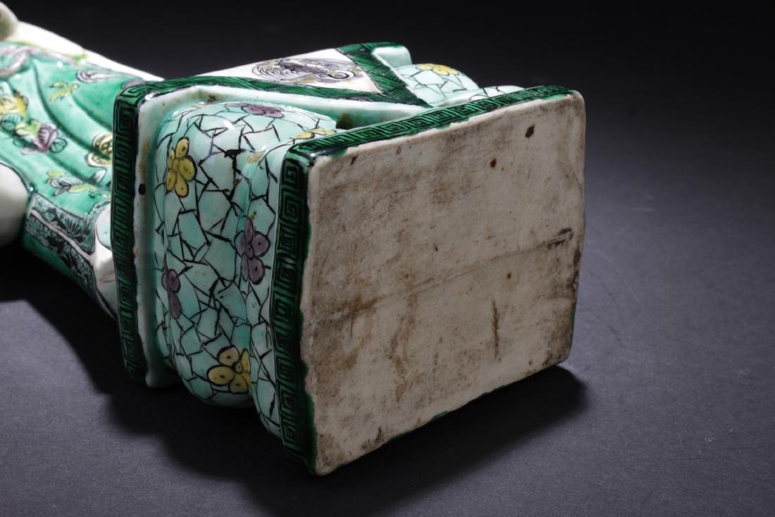 Chinese Antique Famille Verte Porcelain Scholar Figure - 5