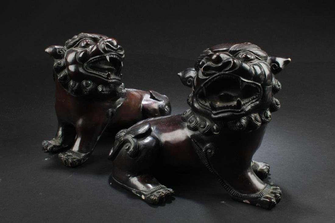 A pair of Chinese Bronze Foo Dog Display