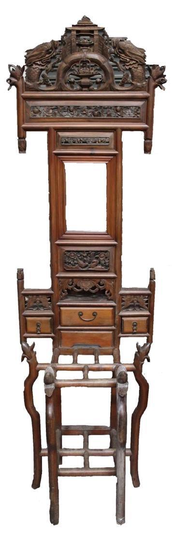 Chinese Hardwood Carved Mirror Set