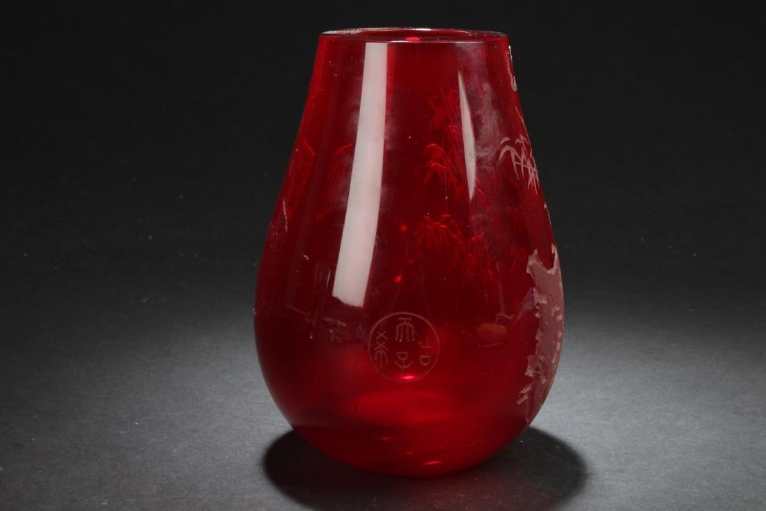 Antique Chinese Peking Glass Vase - 2
