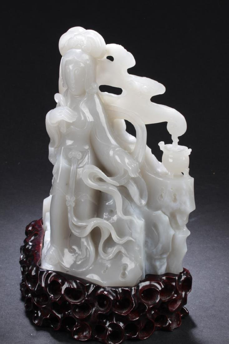 Chinese Jade Carved Guanyin Statue - 2