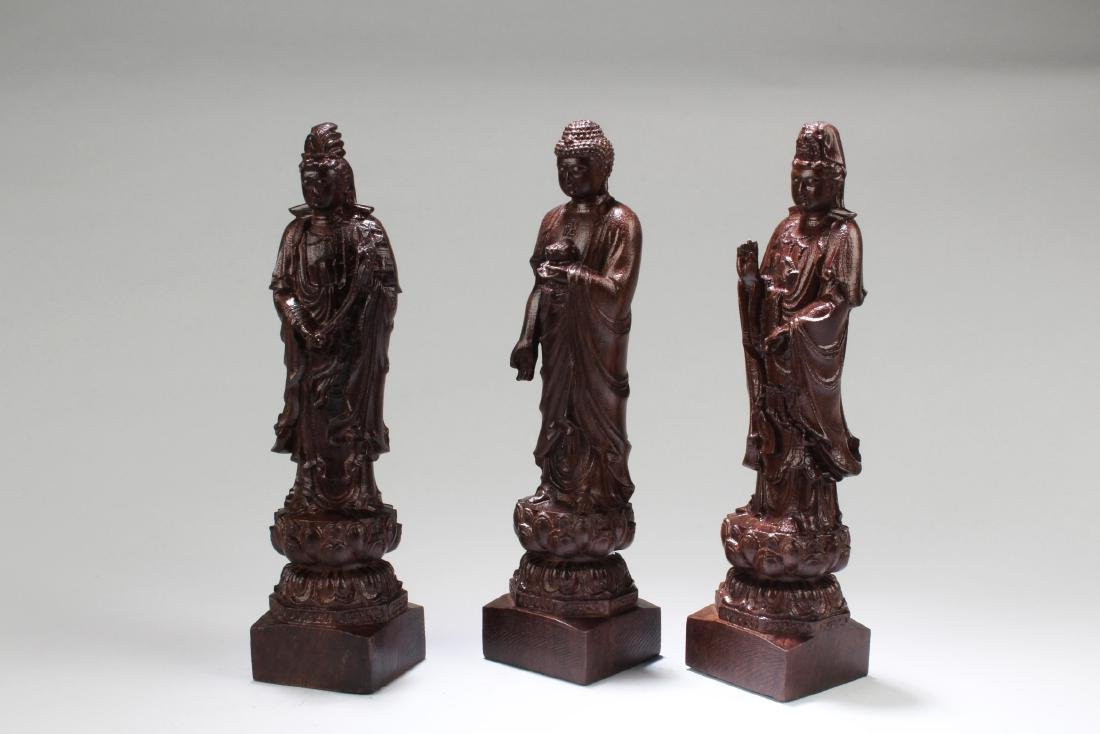 Chinese Hardwood Carved ' The three Saints of The West' - 2