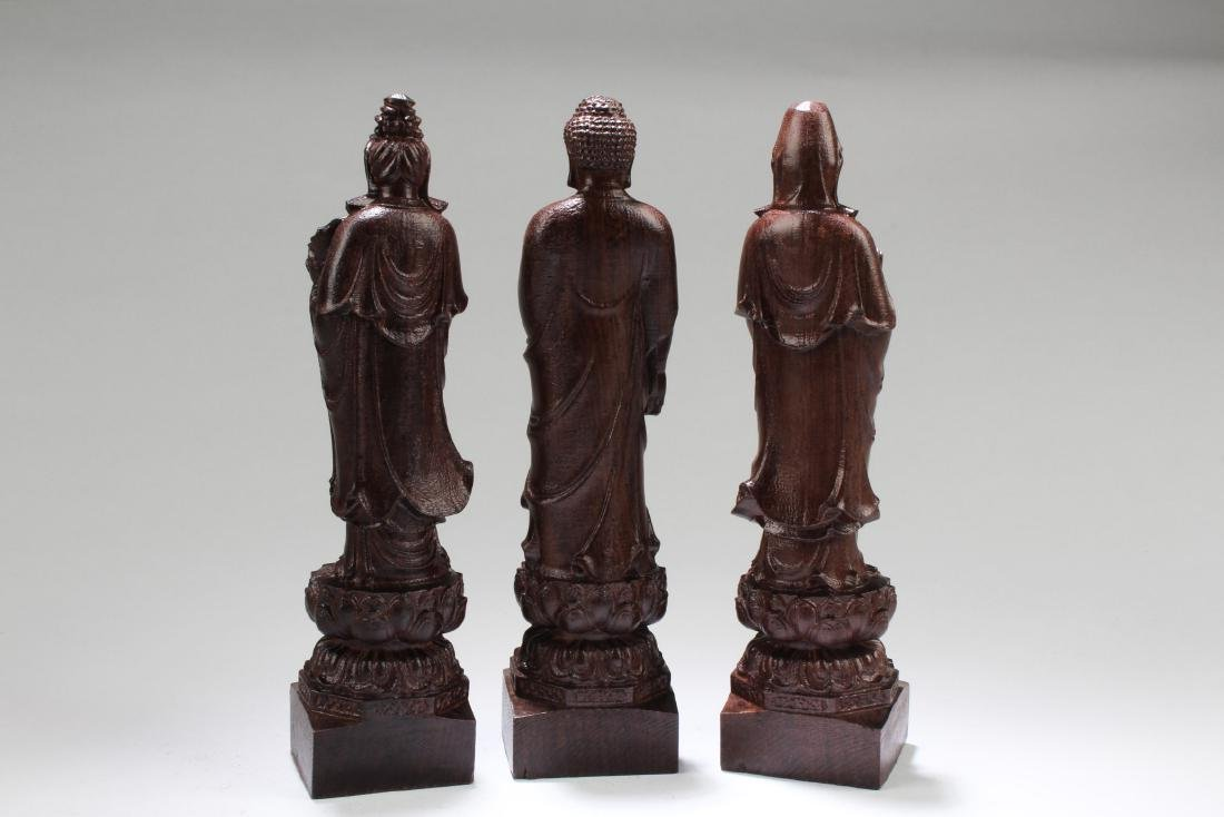 Chinese Hardwood Carved ' The three Saints of The West' - 4