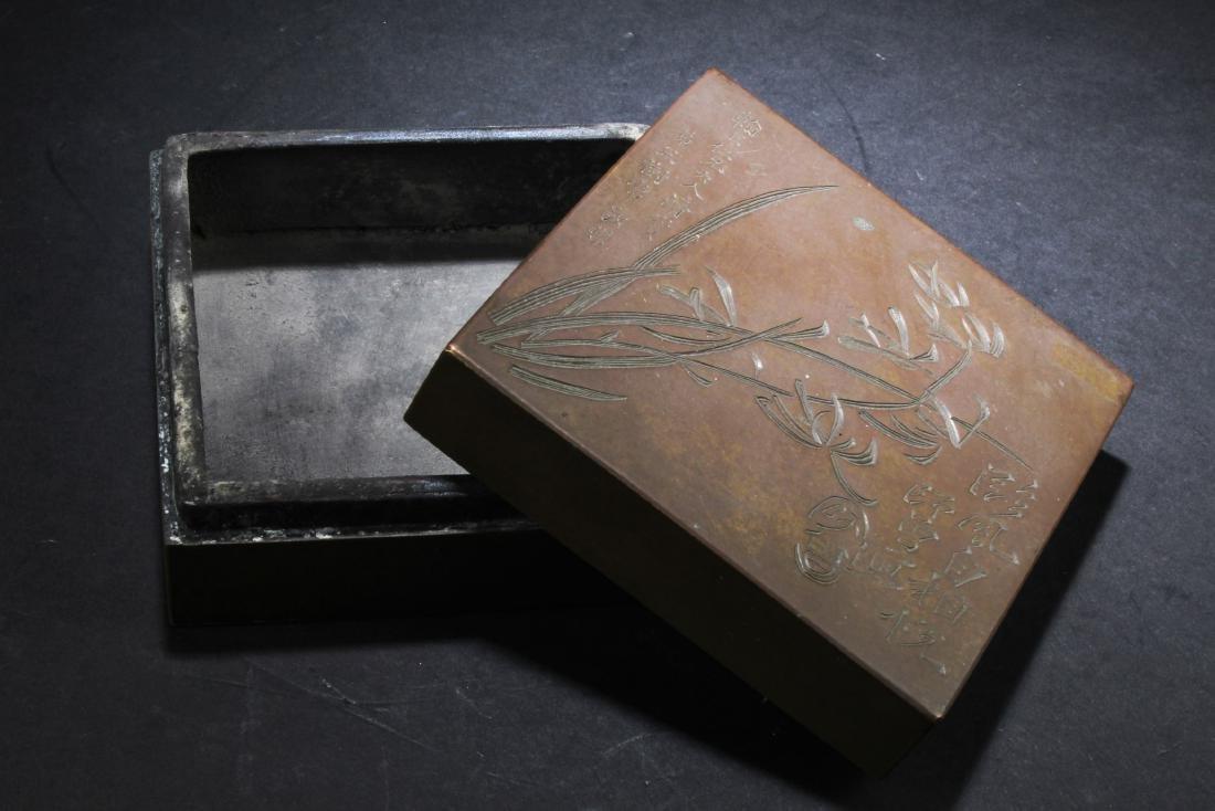 Chinese Bronze Ink Powder Box - 3