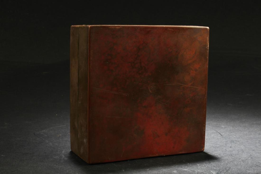 Chinese Bronze Ink Powder Box - 5