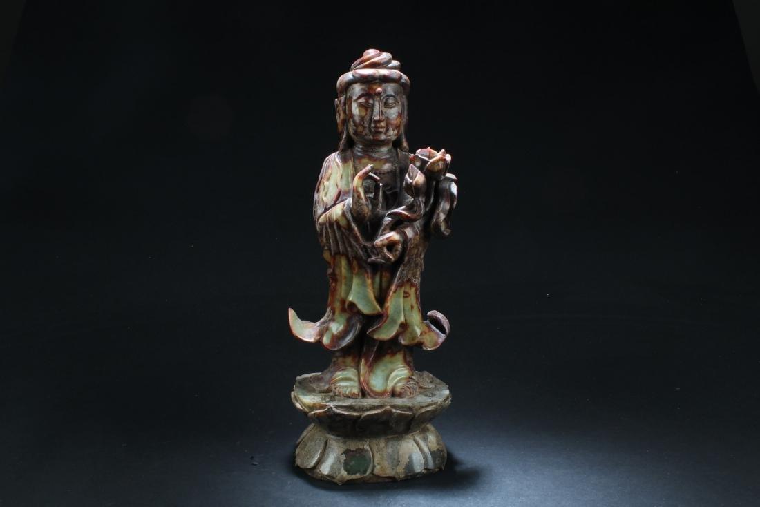 Chinese Jade Carved Bodhisattva Statue
