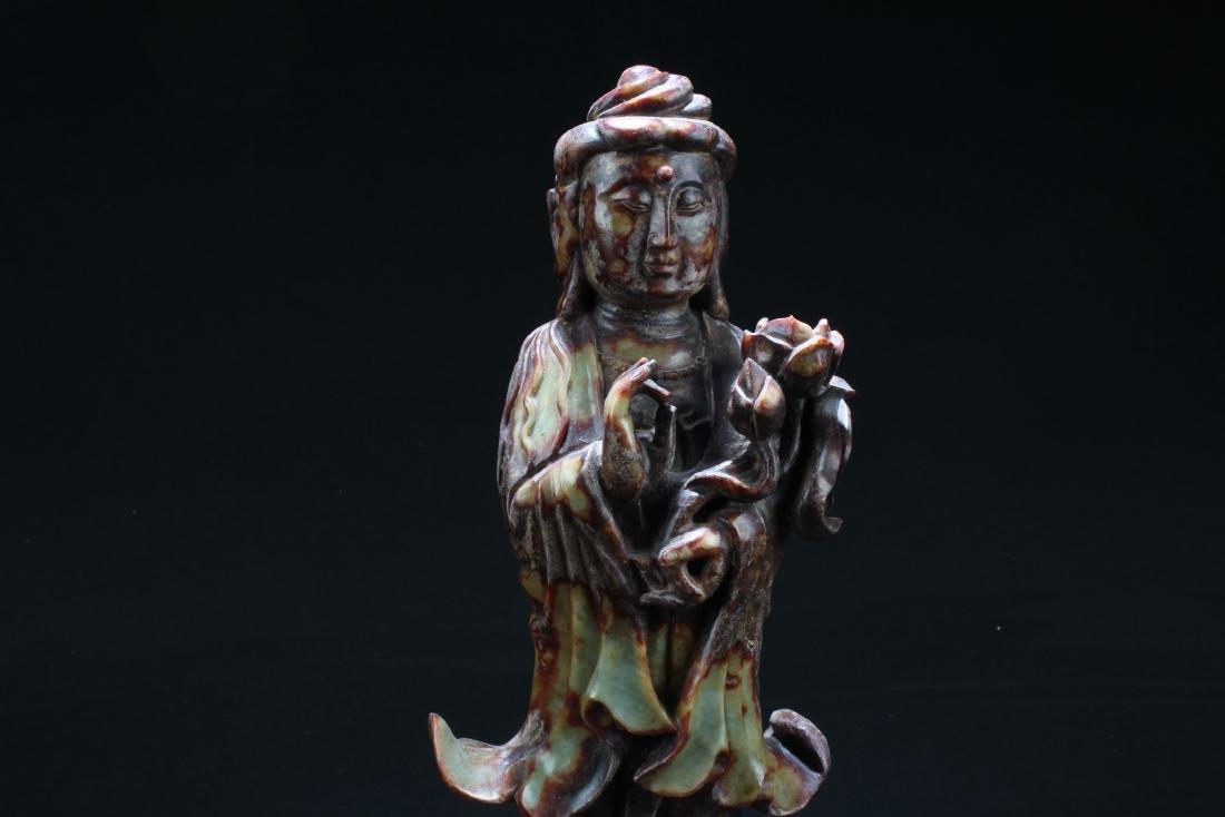 Chinese Jade Carved Bodhisattva Statue - 2