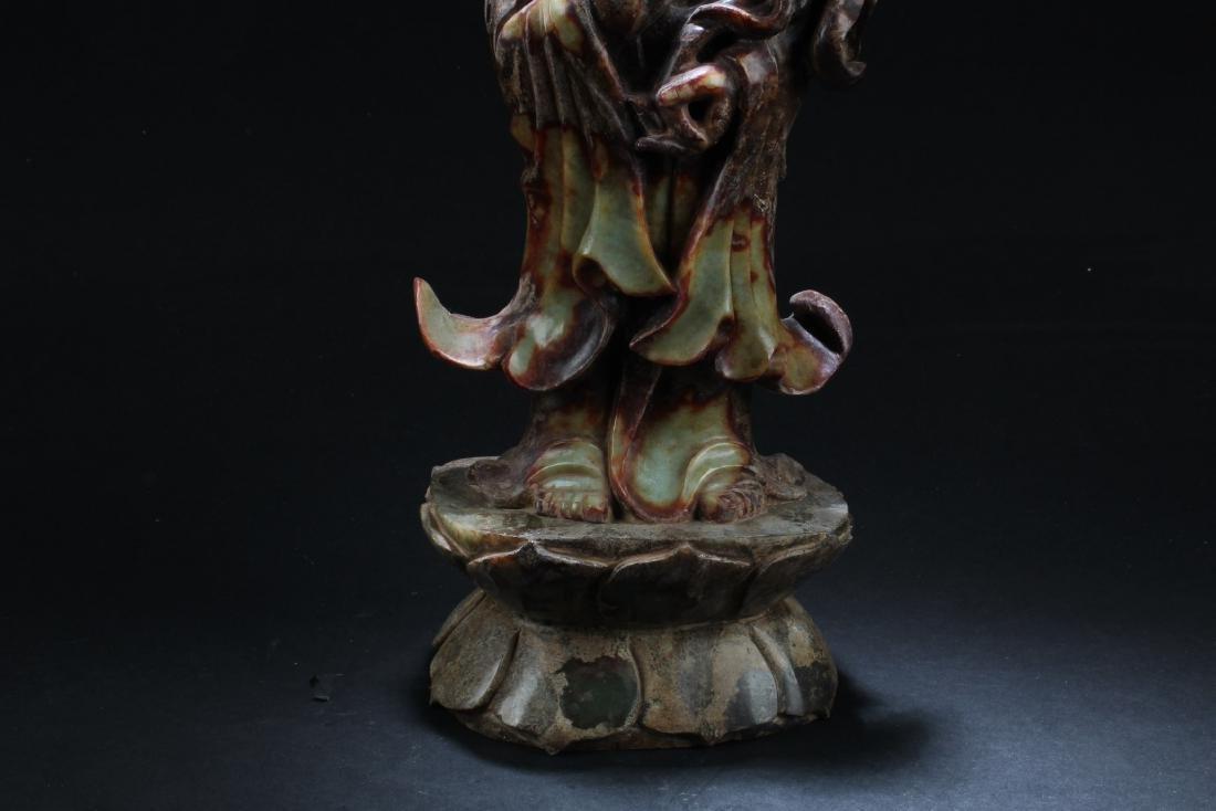 Chinese Jade Carved Bodhisattva Statue - 3