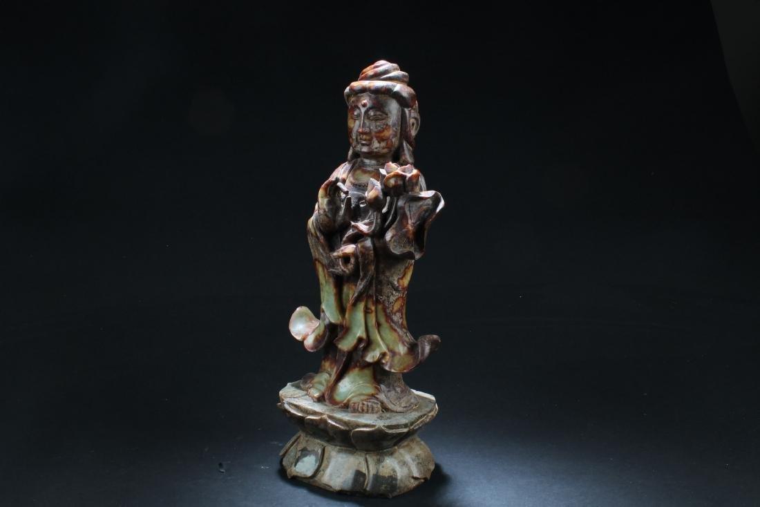 Chinese Jade Carved Bodhisattva Statue - 4