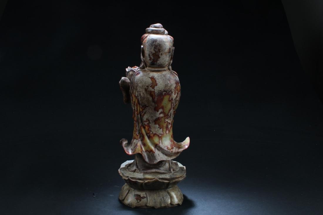 Chinese Jade Carved Bodhisattva Statue - 5
