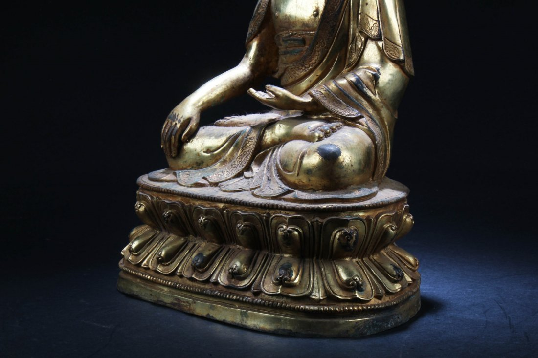 Chinese Gilt Bronze Buddha Statue - 4