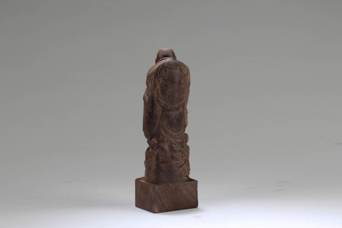 Chinese Wooden Carved Buddha Statue - 3