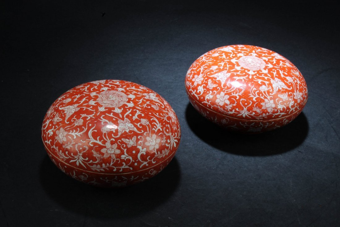 A Pair of Chinese Porcelain Round Containers