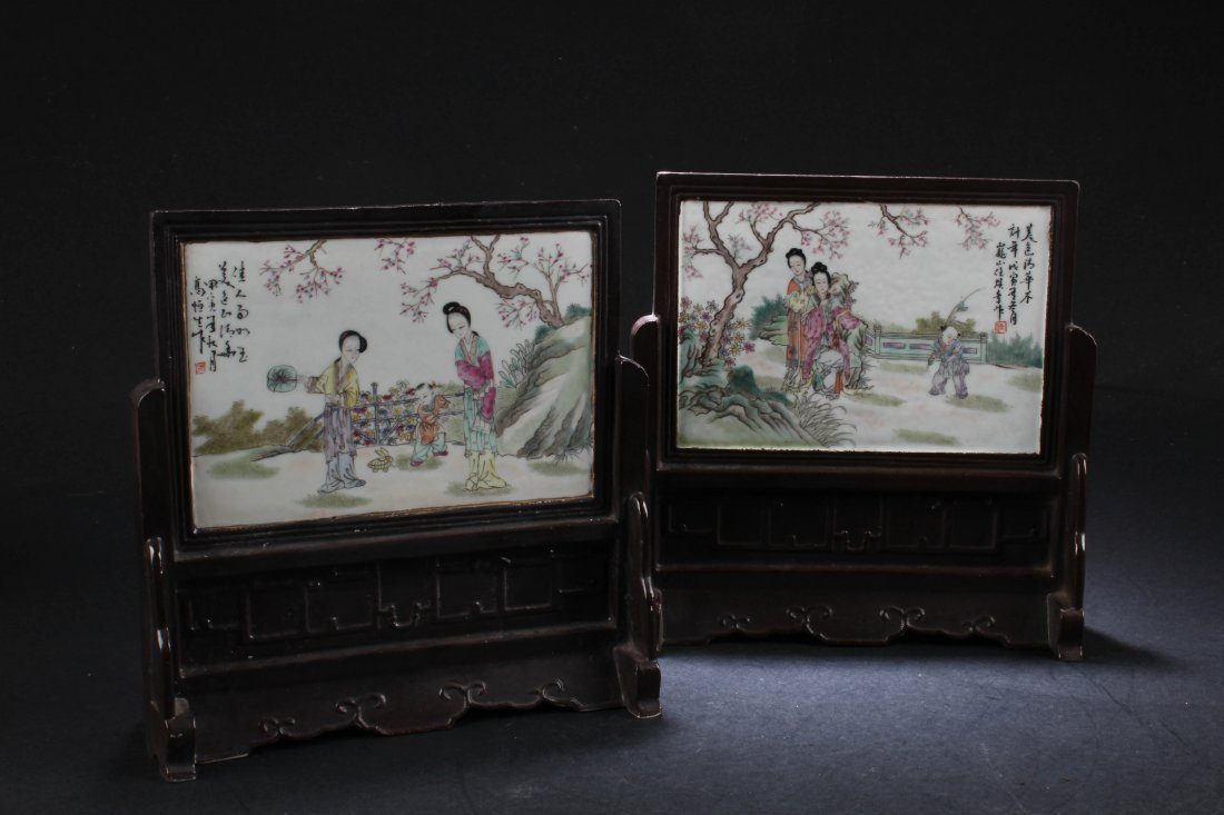 A Pair of Chinese Porcelain Table Screen