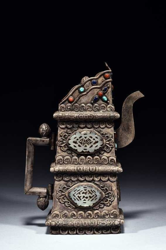 A Silver Jade and Gems Mounted Ewer - 6