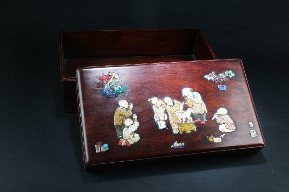 Chinese Hardwood (possibly HuangHuaLi) Rectangular Box,