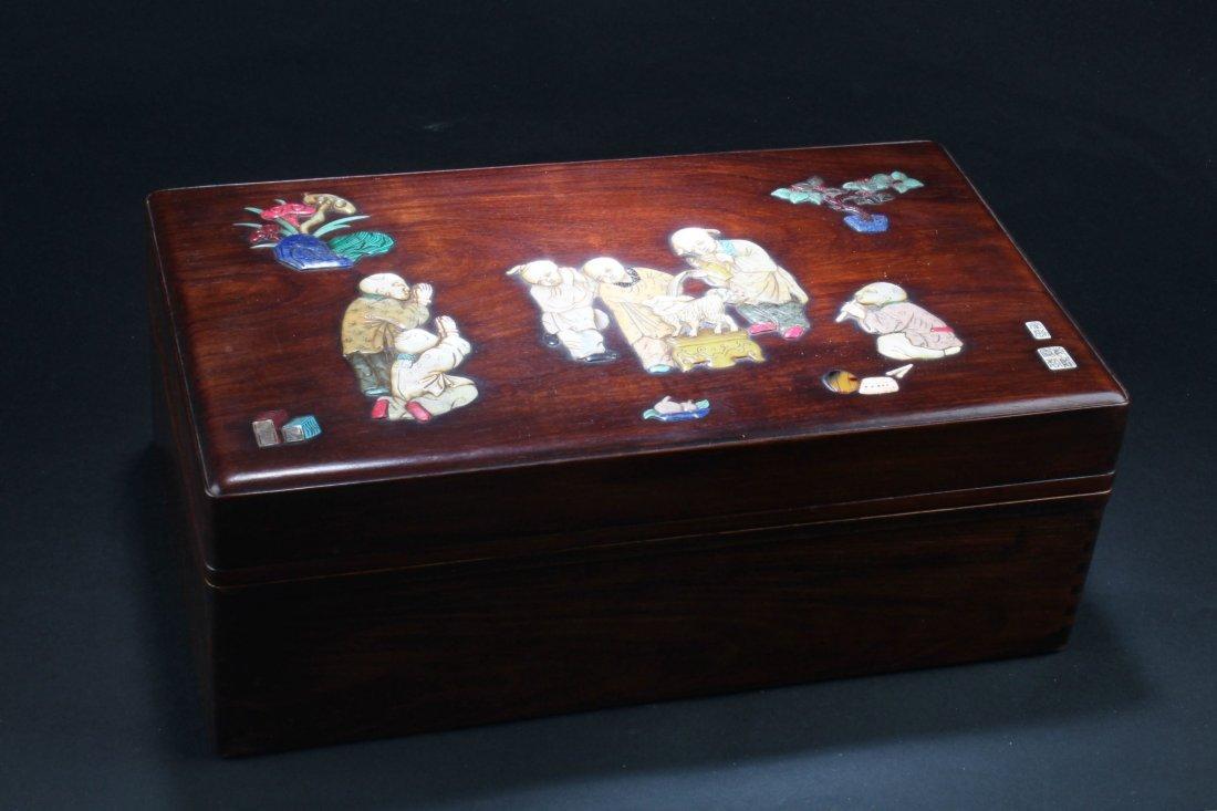 Chinese Hardwood (possibly HuangHuaLi) Rectangular Box, - 2