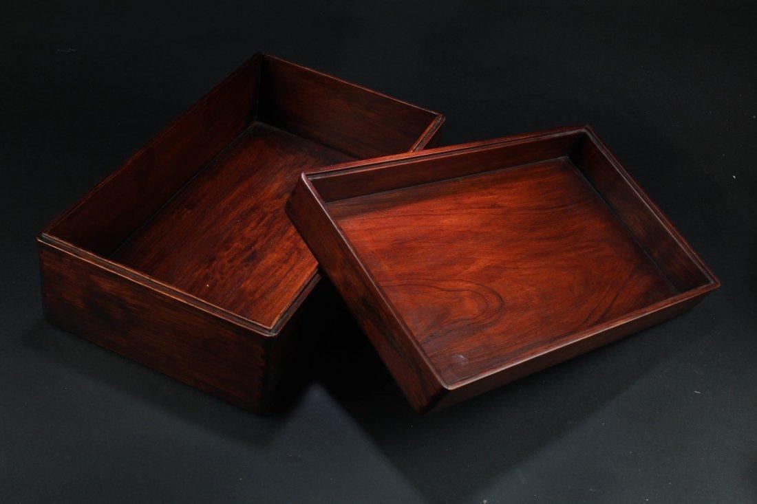 Chinese Hardwood (possibly HuangHuaLi) Rectangular Box, - 3