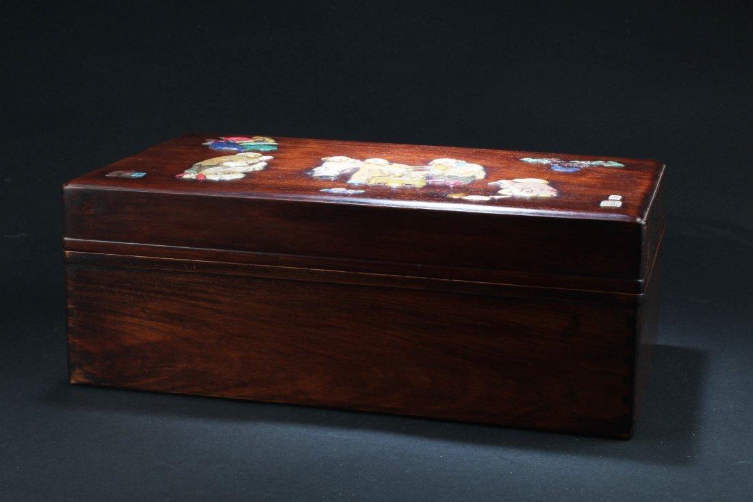 Chinese Hardwood (possibly HuangHuaLi) Rectangular Box, - 5