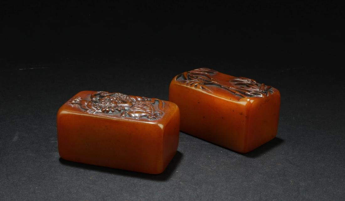 A Pair of Chinese Soapstone Seals