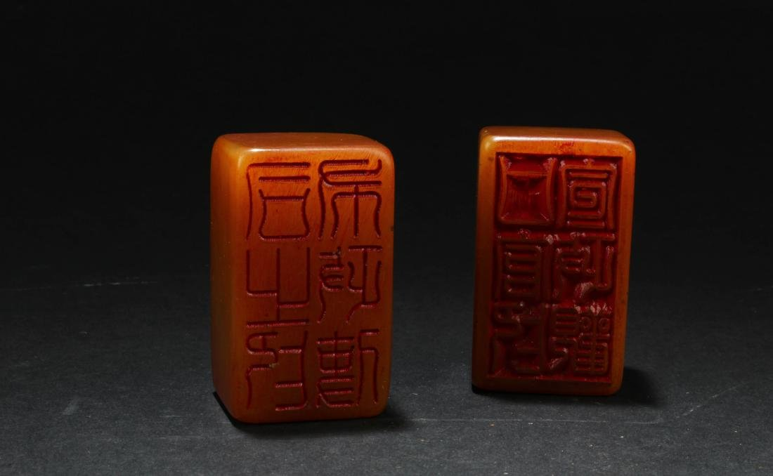 A Pair of Chinese Soapstone Seals - 2