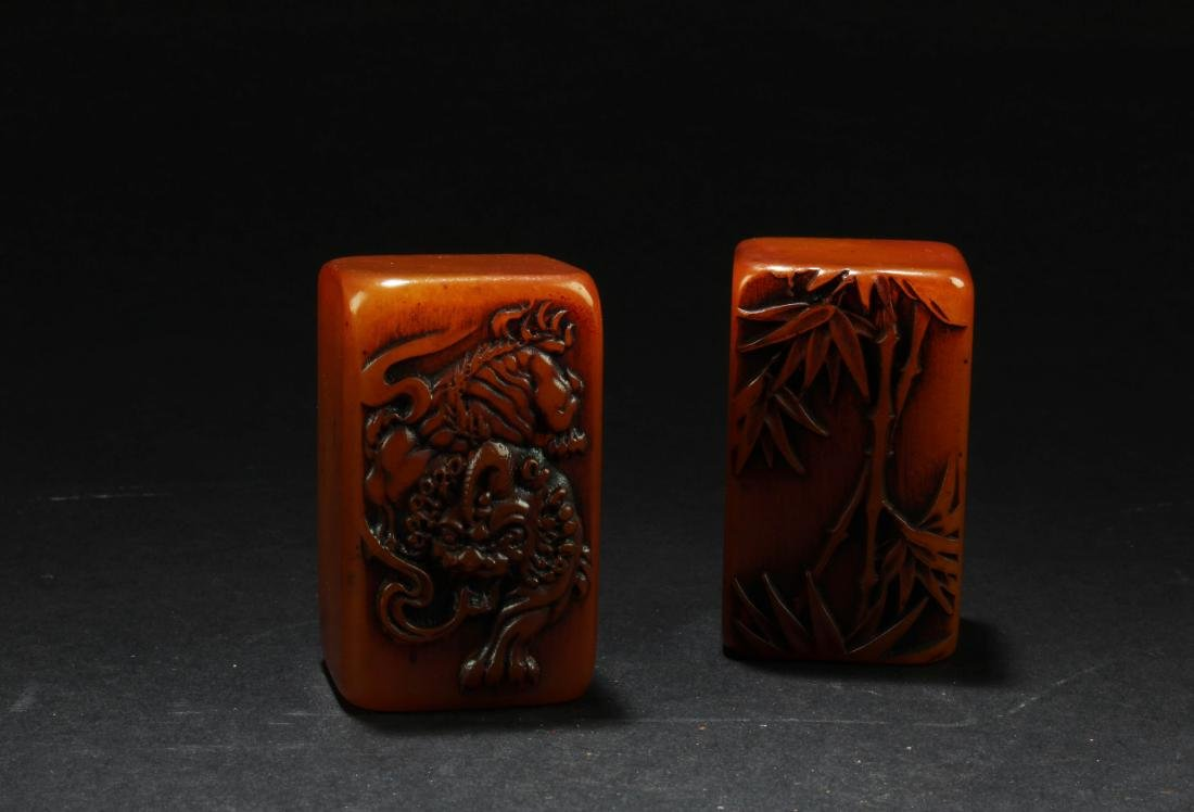A Pair of Chinese Soapstone Seals - 3