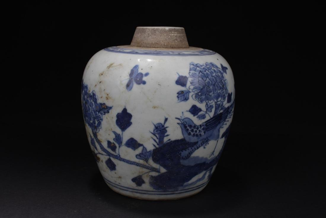 Antique Chinese Blue & White Porcelain Jar