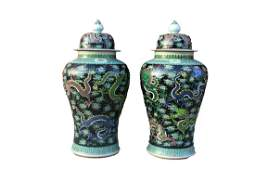 A Pair of Large Chinese Famille Verte Porcelain Vases