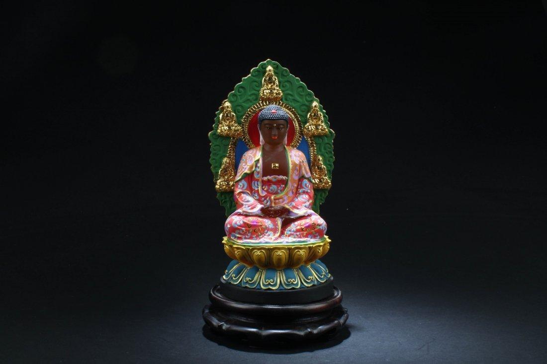 """Chinese Peking Glass Buddha Statue. Height: 9.25"""""""