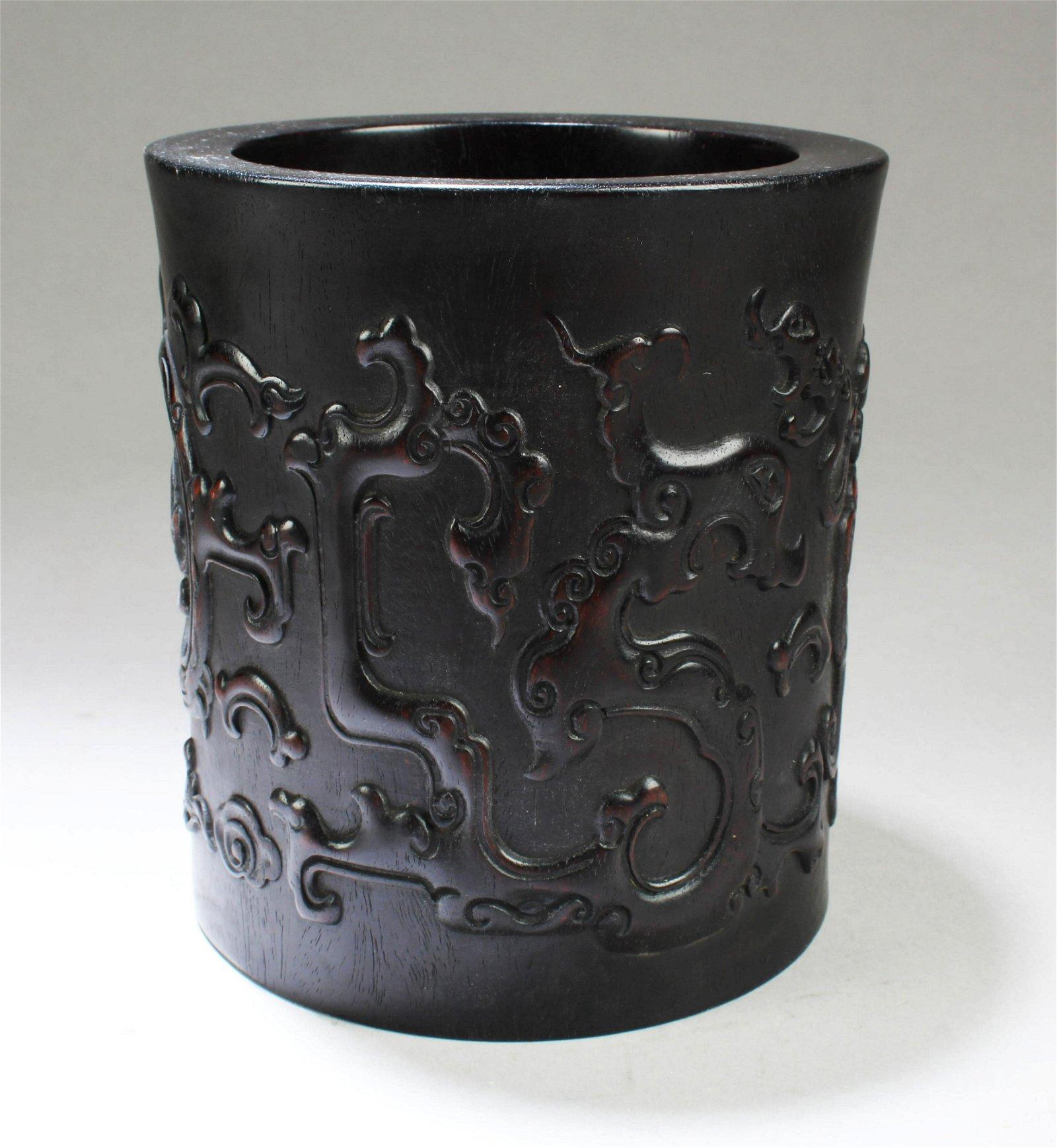A Chinese Hardwood Brushpot