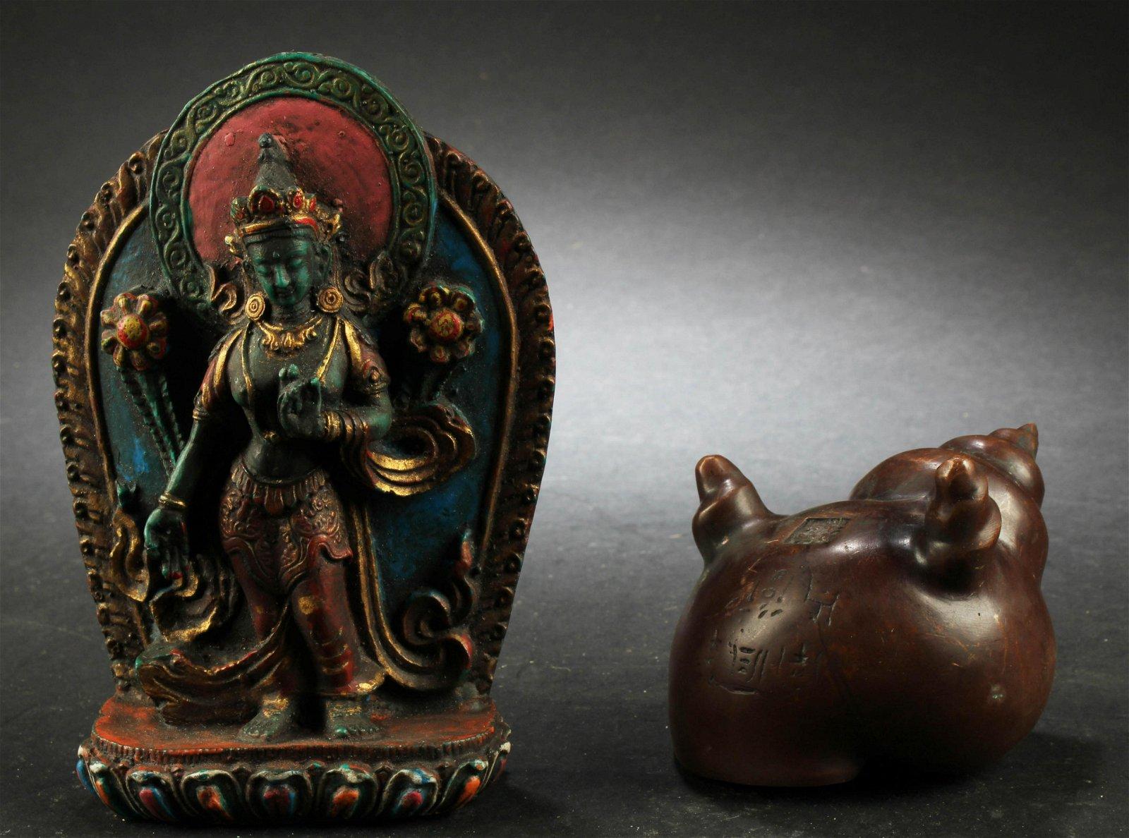 One Bronze Buddha Statue & One Bronze Censer