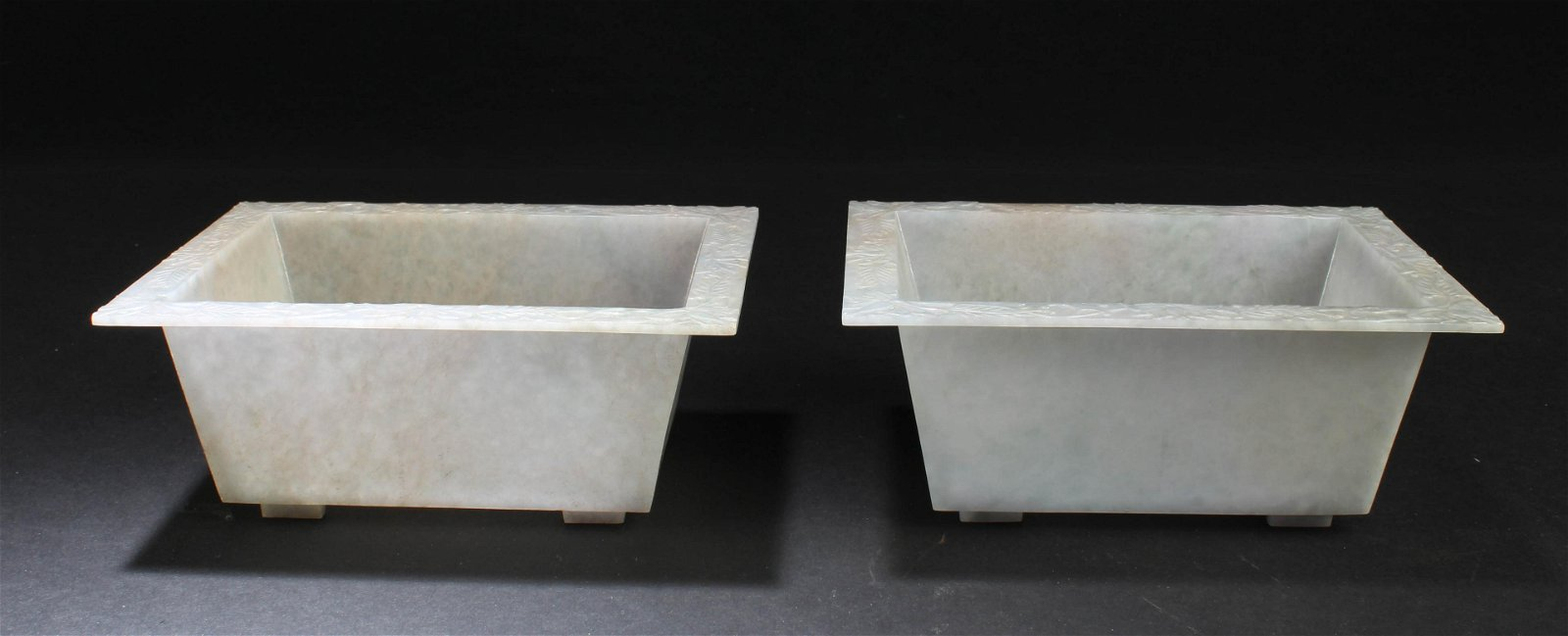 A Pair of Chinese Rectangular Shaped Carved Jade Pot