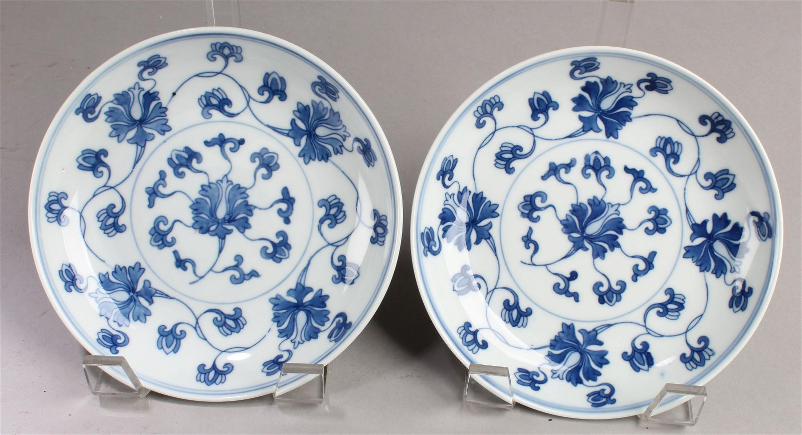 A Pair of Chinese Blue & White Porcelain Plates